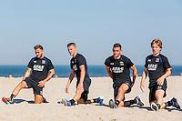 BERGEN - 03-08-2015, strandtraining AZ, strand, AZ speler Muamer Tankovic (l), AZ speler Jeffrey Gouweleeuw (2vl), AZ speler Vincent Janssen (2vr), AZ speler Guus Hupperts (r).