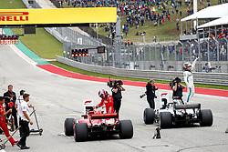 October 20, 2018 - Austin, United States - Motorsports: FIA Formula One World Championship; 2018; Grand Prix; United States, FORMULA 1 PIRELLI 2018 UNITED S GRAND PRIX , Circuit of The Americas#44 Lewis Hamilton (GBR, Mercedes AMG Petronas F1 Team),  , #5 Sebastian Vettel (GER, Scuderia Ferrari) (Credit Image: © Hoch Zwei via ZUMA Wire)
