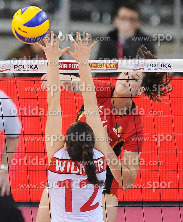 04.01.2014, Atlas Arena, Lotz, POL, FIVB, Damen WM Qualifikation, Belgien vs Schweiz, im Bild CHARLOTTE LEYS // CHARLOTTE LEYS during the ladies FIVB World Championship qualifying match between Belgium and Switzerland at the Atlas Arena in Lotz, Poland on 2014/01/05. EXPA Pictures &copy; 2014, PhotoCredit: EXPA/ Newspix/ Lukasz Laskowski<br /> <br /> *****ATTENTION - for AUT, SLO, CRO, SRB, BIH, MAZ, TUR, SUI, SWE only*****