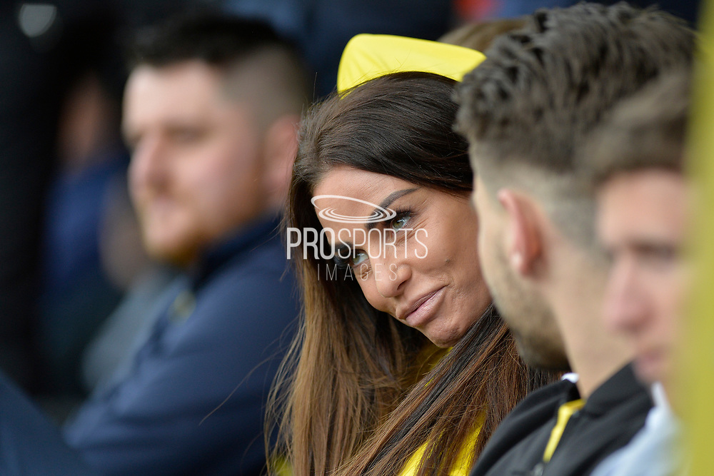 Katie Price watches on during the Sellebrity Soccer match between Katie Price XI and Kerry Katona XI at the Pirelli Stadium, Burton upon Trent, England on 29 April 2018. Picture by Richard Holmes.