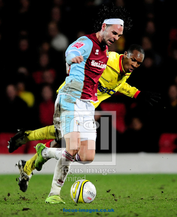London - Tuesday, January 27th, 2009: Gavin Hoyte of Watford and Chris Eagles of Burnley during the Coca Cola Championship match at Vicarage Road, London. (Pic by Daniel Hambury/Focus Images)