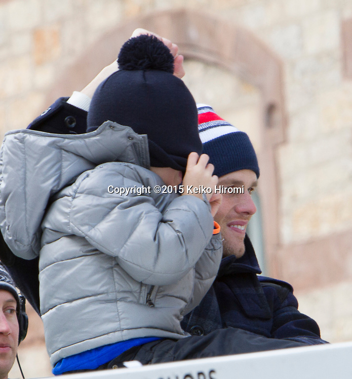 February 4, 2015 Boston, MA USA:  New England Patriots quarterback Tom Brady during a parade in Boston Wednesday, Feb. 4, 2015, to honor the Patriots' victory over the Seattle Seahawks in Super Bowl XLIX Sunday in Glendale, Arizona.