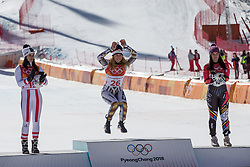 February 17, 2018 - Pyeongchang, South Korea - (L-R) Silver medal winner ANNA VEITH of Austria, gold medal winner ESTER LEDECKA of Czech Republic, and Bronze medal winner TINA WEIRATHER of Liechtenstein during the venue podium ceremony for Alpine Skiing: Ladies' Super-G at Jeongseon Alpine Centre during the 2018 Pyeongchang Winter Olympic Games. (Credit Image: © Daniel A. Anderson via ZUMA Wire)