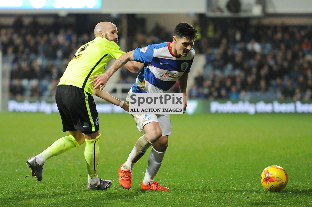 QPRs Bruno and Brightons Alejandro Faurlin in action during the Queens Park Rangers v Brighton & Hove Albion game in the  Sky Bet Championship on Tuesday 15th Decemeber 2015 at Loftus Road.