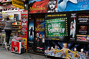 A London theatreland retailer and productions booking office posters, on 15th August 2017, in London, England.