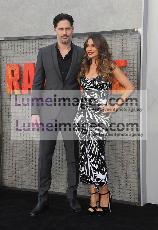 Sofia Vergara and Joe Manganiello at the Los Angeles premiere of 'Rampage' held at the Microsoft Theater in Los Angeles, USA on April 4, 2018.
