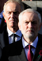 © Licensed to London News Pictures. 13/11/2016. London, UK.  Former British prime minster TONY BLAIR and leader of the labour party JEREMY CORBYN attend a Remembrance Day Ceremony at the Cenotaph war memorial in London, United Kingdom, on November 13, 2016 . Thousands of people honour the war dead by gathering at the iconic memorial to lay wreaths and observe two minutes silence. Photo credit: Ben Cawthra/LNP