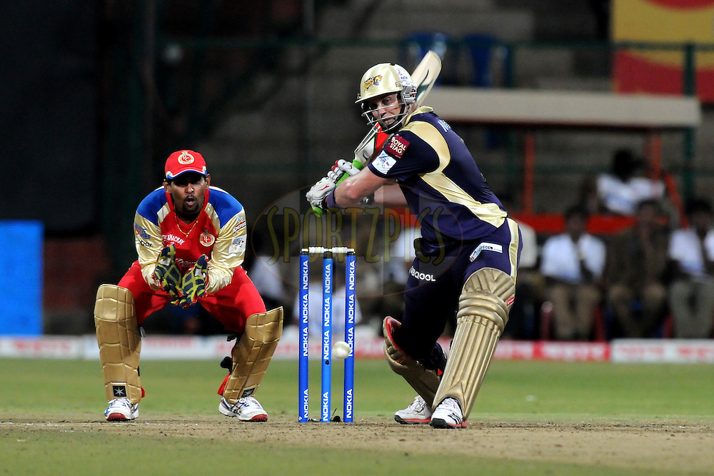 Jacques Kallis of Kolkata Knight Riders bats during match 10 of the NOKIA Champions League T20 ( CLT20 )between the Royal Challengers Bangalore and the Kolkata Knight Riders held at the  M.Chinnaswamy Stadium in Bangalore , Karnataka, India on the 29th September 2011..Photo by Pal Pillai/BCCI/SPORTZPICS