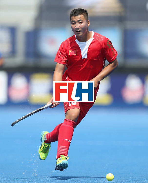 LONDON, ENGLAND - JUNE 17:  Liguang E of China during the Hero Hockey World League semi final match between China and Korea at Lee Valley Hockey and Tennis Centre on June 17, 2017 in London, England.  (Photo by Alex Morton/Getty Images)