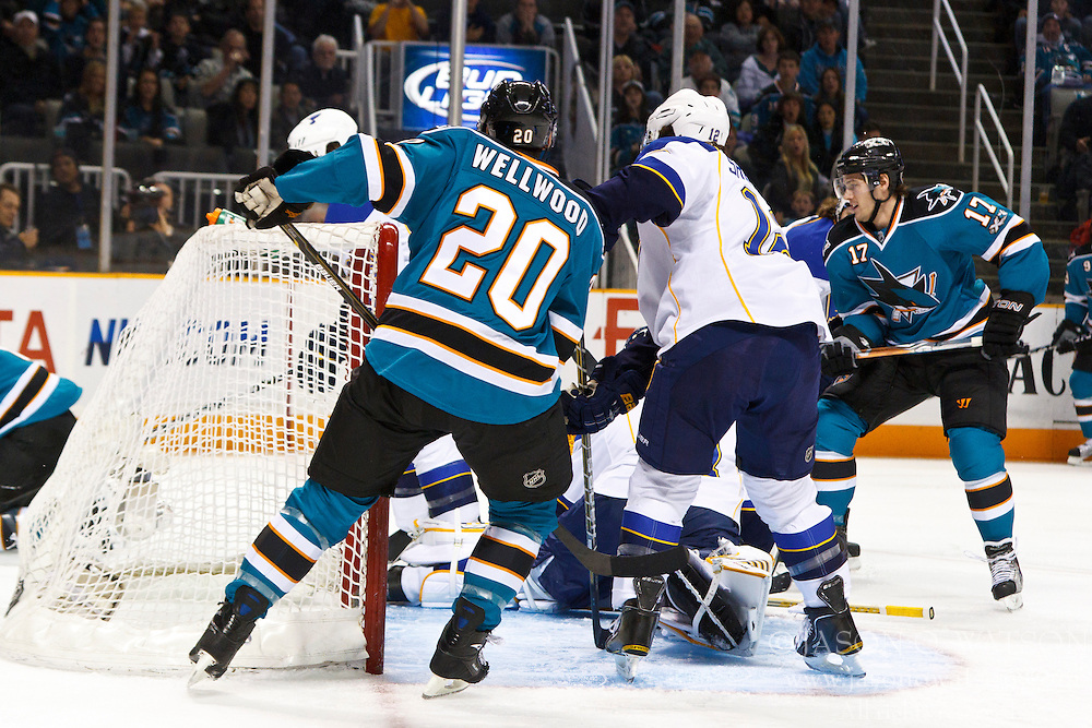 March 19, 2011; San Jose, CA, USA;  San Jose Sharks center Torrey Mitchell (right) scores a goal against the St. Louis Blues during the first period at HP Pavilion. Mandatory Credit: Jason O. Watson / US PRESSWIRE