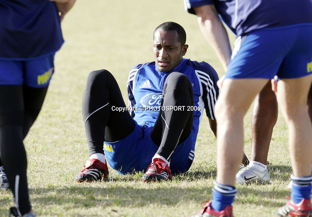 Blues wing Joe Rokocoko during the Auckland Blues training session held at Unitech, Auckland, on Thursday 2 March, 2006. Photo: Andrew Cornaga/PHOTOSPORT<br />