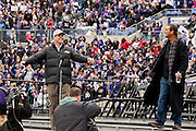 Baltimore Ravens head coach Jim Harbaugh & Ravens owner Steve Bisciotti before the start of the Baltimore Ravens Super Bowl XLVII Celebration at M&T Bank Stadium on Tuesday, February 5, 2013 in Baltimore, MD.