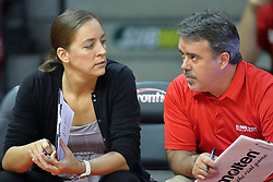 13 September 2011: Redbird Volleyball coaches Melissa Myers and Adriano De Souza during an NCAA volleyball match between the Ramblers of Loyola and the Illinois State Redbirds at Redbird Arena in Normal Illinois.