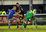 Eastleigh's James Constable appeals after Bolton Wanderers Ben Amos picks up a back pass during the The FA Cup third round match between Eastleigh and Bolton Wanderers at Silverlake Stadium, Ten Acres, Eastleigh, United Kingdom on 9 January 2016. Photo by Graham Hunt.