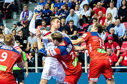 16.01.2018, Zatika Sport Centre, Porec, CRO, EHF EM, Herren, Österreich vs Norwegen, Gruppe B, im Bild Nikola Bilyk (AUT), Magnus Gullerud (NOR), Kent Robin Tonnesen (NOR) // during the preliminary round, group B match of the EHF men' s Handball European Championship between Austria and Norway at the Zatika Sport Centre in Porec, Croatia on 2018/01/16. EXPA Pictures © 2018, PhotoCredit: EXPA/ Sebastian Pucher