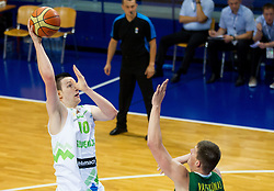 Alen Omic of Slovenia vs Paulius Vaitiekunas of Lithuania during basketball match between National teams of Slovenia and Lithuania in First Round of U20 Men European Championship Slovenia 2012, on July 14, 2012 in Domzale, Slovenia.  (Photo by Vid Ponikvar / Sportida.com)