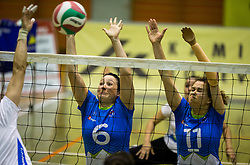Suzana Ocepek of Slovenia and Lena Gabrscek of Slovenia during friendly Sitting Volleyball match between National teams of Slovenia and China, on October 22, 2017 in Sempeter pri Zalcu, Slovenia. (Photo by Vid Ponikvar / Sportida)