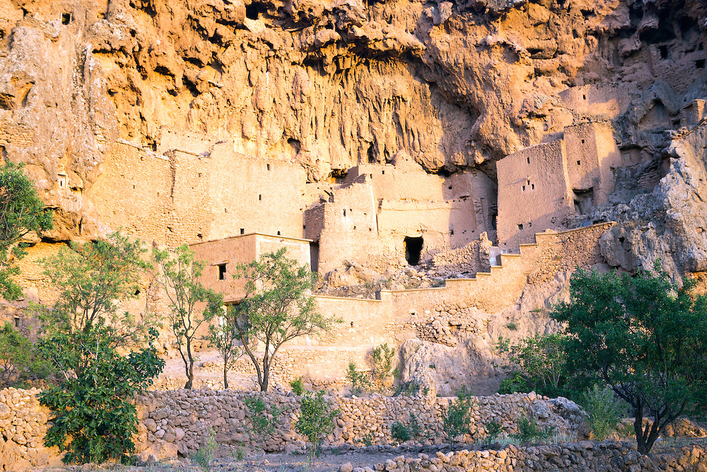 TALIOUINE, MOROCCO - MAY 23RD 2016 - Close up of the Ifri Granary rooms and chambers, Taliouine province of the Souss Massa Draa, Southern Morocco