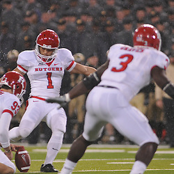 Oct 23, 2009; West Point, N.Y., USA; Rutgers kicker San San Te (1) kicks an extra point during Rutgers' 27 - 10 victory over Army at Michie Stadium.