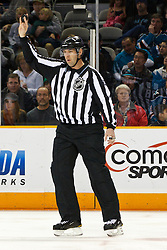 March 5, 2011; San Jose, CA, USA;  NHL linesman Brian Mach (78) before a face off between the San Jose Sharks and the Dallas Stars during the first period at HP Pavilion.  Dallas defeated San Jose 3-2. Mandatory Credit: Jason O. Watson / US PRESSWIRE