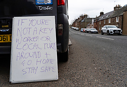 Sign warning off non residents during coronavirus lockdown in village of Muthill ,  Perth and Kinross, Perthshire, Scotland, UK