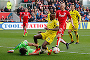Burton Albion midfielder Lloyd Dyer (11) sees a chance saved by Bristol City goalkeeper Fabien Giefer (33) during the EFL Sky Bet Championship match between Bristol City and Burton Albion at Ashton Gate, Bristol, England on 4 March 2017. Photo by Richard Holmes.