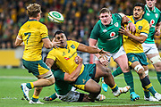 Taniela Tupou of the Australian Wallabies passes the ball to Michael Hooper of the Australian Wallabies during the Australian Wallabies vs Ireland second Mitsubishi Estate test match at AAMI Park, Melbourne, Australia on 16 June 2018. Picture by Martin Keep.