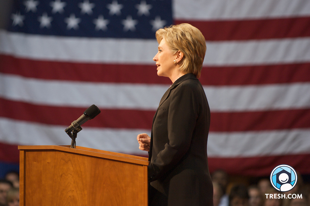 Hillary Clinton conceding the race for the Democratic party's nomination for President of the United States of America to Barack Obama at the National Building Museum in Washington, D.C., Saturday, June 7, 2008.