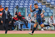 Gianluca Lapadula of Lecce celebrates after scoring 1-1 goal during the Italian championship Serie A football match between SS Lazio and US Lecce Sunday, Nov. 10, 2019 at the Stadio Olimpico in Rome. SS Lazio defeated US Lecce 4-2. (Federico Proietti/Image of Sport)