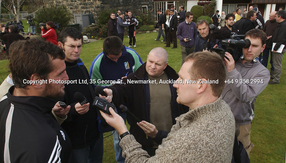 Carl Hayman is interviewed by the media at an All Black Training, 07 June 2004 in Dunedin, prior to the Test match against England on Saturday.<br />Please credit: Photosport