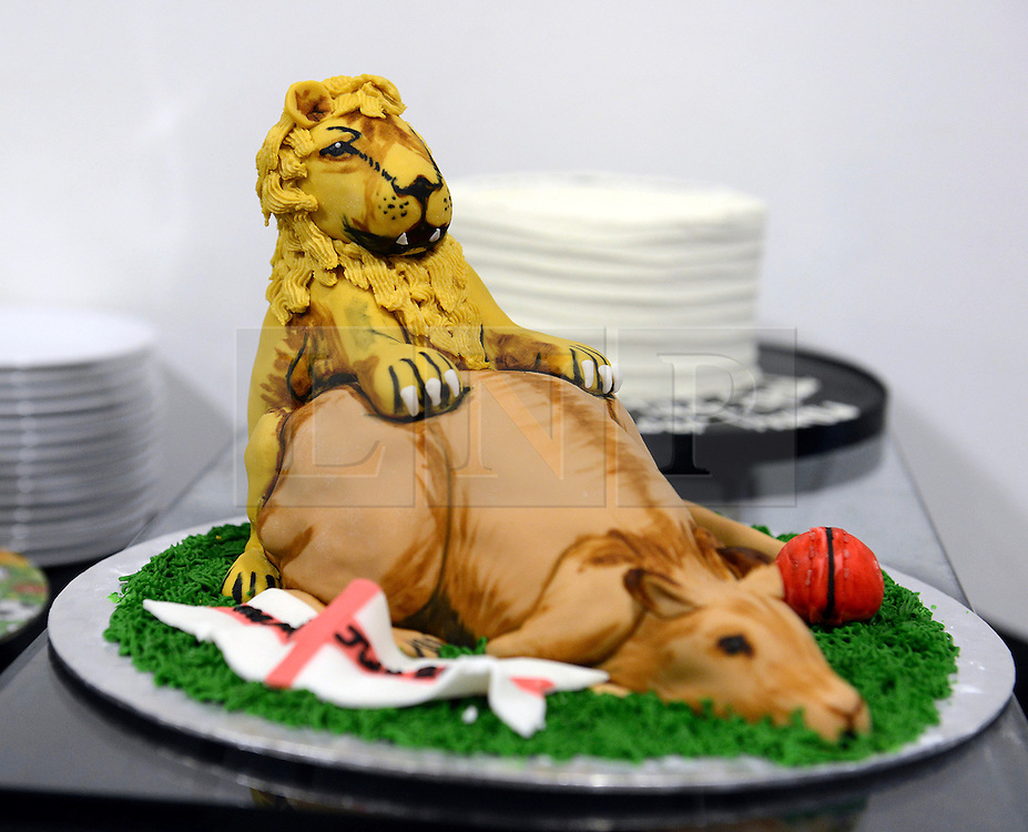 © Licensed to London News Pictures. 25/08/2013. London, UK Investec 5th Ashes Test, The Kia Oval, 5th day, 25/08/2013 A cake sent to the BBC Radio Test Match Special team depicting an English lion and an Australian Kangeroo. Photo credit : Mike King/LNP