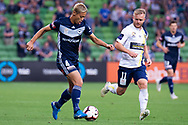 MELBOURNE, AUSTRALIA - APRIL 14: Keisuke Honda (4) of the Victory runs the ball downfield during round 25 of the Hyundai A-League match between Melbourne Victory and Central Coast Mariners on April 14, 2019 at AAMI Park in Melbourne, Australia. (Photo by Speed Media/Icon Sportswire)