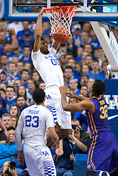 Kentucky forward Marcus Lee elevates for a jam in the second half. <br /> <br /> The University of Kentucky hosted the LSU Tigers, Saturday, March 05, 2016 at Rupp Arena in Lexington .