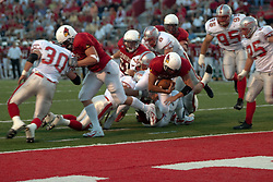 02 September 2004   Yance Vaughan scores on a quarterback option.   St. Xavier Cougars at Illinois State University Redbirds.  Hancock Stadium.  Normal IL
