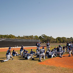 February 20, 2011; Port Charlotte, FL, USA; Tampa Bay Rays pitchers and catchers gather for a post practice meeting during spring training at Charlotte Sports Park.  Mandatory Credit: Derick E. Hingle