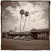 Square version of the Chicken Pie Shop at the corner of Euclid and La Palma in Anahiem, CA.