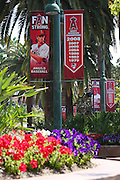 ANAHEIM, CA - MAY 14:  Signs, palm trees, and flowers decorate the grounds at the Los Angeles Angels of Anaheim game against the Boston Red Sox at Angel Stadium in Anaheim, California on Thursday, May 14, 2009.  The Angels defeated the Red Sox 5-4 in 12 innings.  (Photo by Paul Spinelli/MLB Photos)