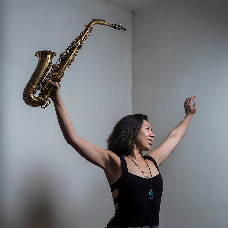 WASHINGTON, DC -- FEBRUARY 17:  Sarah Marie Hughes, a jazz saxophonist, for a Weekend COVER story about local music: how local music allows listeners to form a deeper relationship with the music, the kind they can't have with superstars in a huge arena.…. (photo by Andre Chung for The Washington Post)