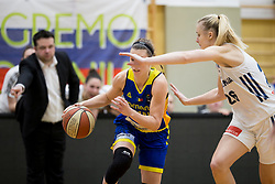 Gabriela Marginean of Romania and Larisa Ocvirk of Slovenia during basketball match between National teams of Slovenia and Romania in 4. round of FIBA Women's EuroBasket 2019 Qualifiers, on February 14, 2018 in Dvorana Gimnazija Celje - Center, Slovenia. Photo by Urban Urbanc / Sportida
