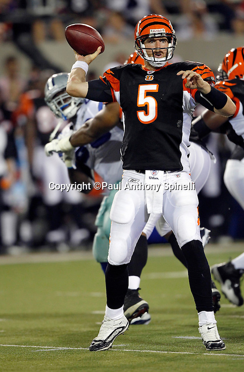 Cincinnati Bengals quarterback Jordan Palmer (5) throws a pass during the NFL Pro Football Hall of Fame preseason football game between the Dallas Cowboys and the Cincinnati Bengals on Sunday, August 8, 2010 in Canton, Ohio. The Cowboys won the game 16-7. (©Paul Anthony Spinelli)