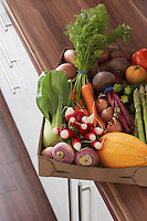 Container full of fresh vegetables on kitchen counter close-up elevated view