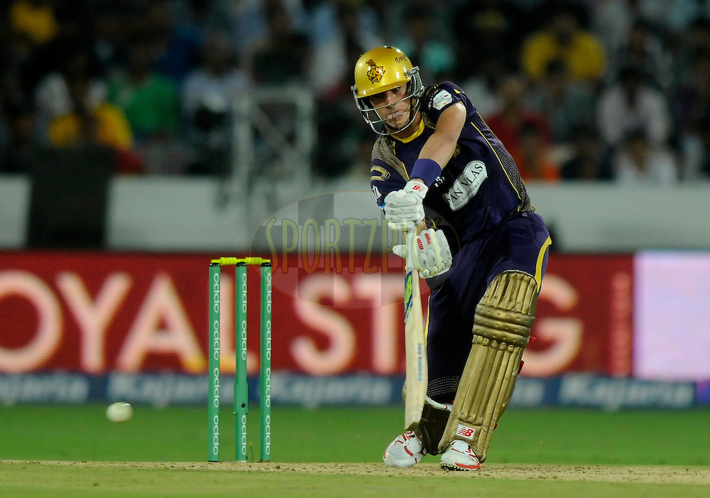 during match 1 of the Oppo Champions League Twenty20 between the Kolkata Knight Riders and the Chennai Superkings held at the Rajiv Gandhi Cricket Stadium, Hyderabad, India on the 17th September 2014<br /> <br /> Photo by:  Pal Pillai / Sportzpics/ CLT20<br /> <br /> <br /> Image use is subject to the terms and conditions as laid out by the BCCI/ CLT20.  The terms and conditions can be downloaded here:<br /> <br /> http://sportzpics.photoshelter.com/gallery/CLT20-Image-Terms-and-Conditions-2014/G0000IfNJn535VPU/C0000QhhKadWcjYs
