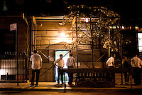 1 August, 2008. New York, NY. Young orthodox men and women gather in front of the Ohab Zedek Synagogue on a Friday evening, at the end of the Shabbat service. The Ohab Zedek is one of the main loci of young Orthodox singles. <br />  ©2008 Gianni Cipriano for The New York Times<br /> cell. +1 646 465 2168 (USA)<br /> cell. +1 328 567 7923 (Italy)<br /> gianni@giannicipriano.com<br /> www.giannicipriano.com