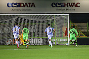 Forest Green Rovers Fabien Robert (26) takes a penalty and scores a goal 4-1 during the Gloucestershire Senior Cup match between Forest Green Rovers and Cheltenham Town at the New Lawn, Forest Green, United Kingdom on 20 September 2016. Photo by Shane Healey.