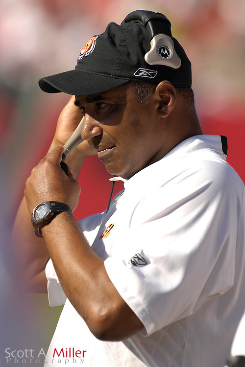 Oct. 15, 2006; Tampa, FL, USA; Cincinnati coach Marvin Lewis on the sidelines during the second half of his team's loss to the Tampa Bay Buccaneers at Raymond James Stadium. ...©2006 Scott A. Miller