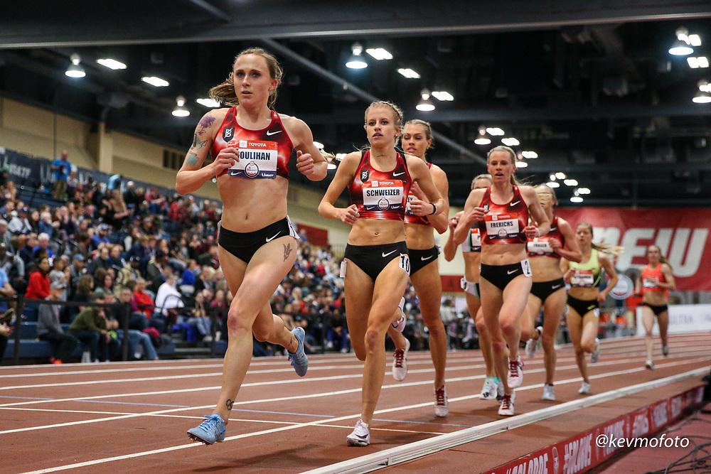 2020 USATF Indoor Championship<br /> Albuquerque, NM 2020-02-14<br /> photo credit: © 2020 Kevin Morris<br /> womens 3000m, Bowerman TC, Nike
