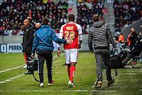 Antoine CONTE blesse - 25.01.2015 - Reims / Lens  - 22eme journee de Ligue1<br /> Photo : Dave Winter / Icon Sport *** Local Caption ***