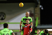 Forest Green Rovers Farrend Rawson(6) heads the ball clear during the EFL Sky Bet League 2 match between Forest Green Rovers and Grimsby Town FC at the New Lawn, Forest Green, United Kingdom on 22 January 2019.