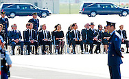 NETHERLANDS, Eindhoven - King Willem-Alexander and Queen Maxima of The Netherlands, and Dutch Prime minister Mark Rutte attend a ceremony for the victims of downed Malaysia Airlines flight MH17 at Eindhoven Airbase on July 23, 2014, COPYRIGHT ROBIN UTRECHT <br />