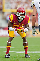 20 October 2012: Cornerback (21) Nickell Robey of the USC Trojans lines up against the Colorado Buffalos during the first half of USC's  50-6 victory over Colorado at the Los Angeles Memorial Coliseum in Los Angeles, CA.